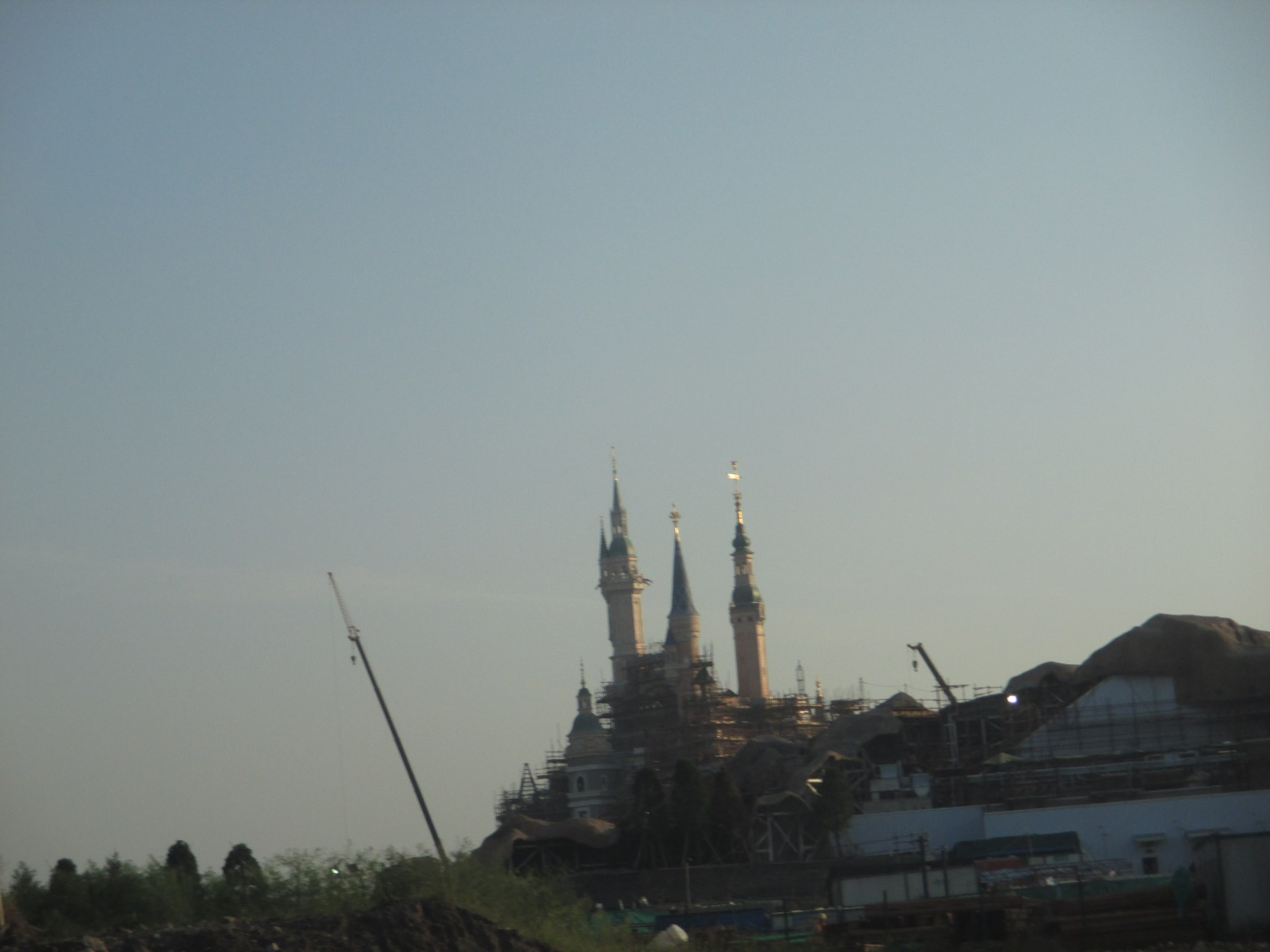 The big Disneyland castle being built in Shanghai, China.