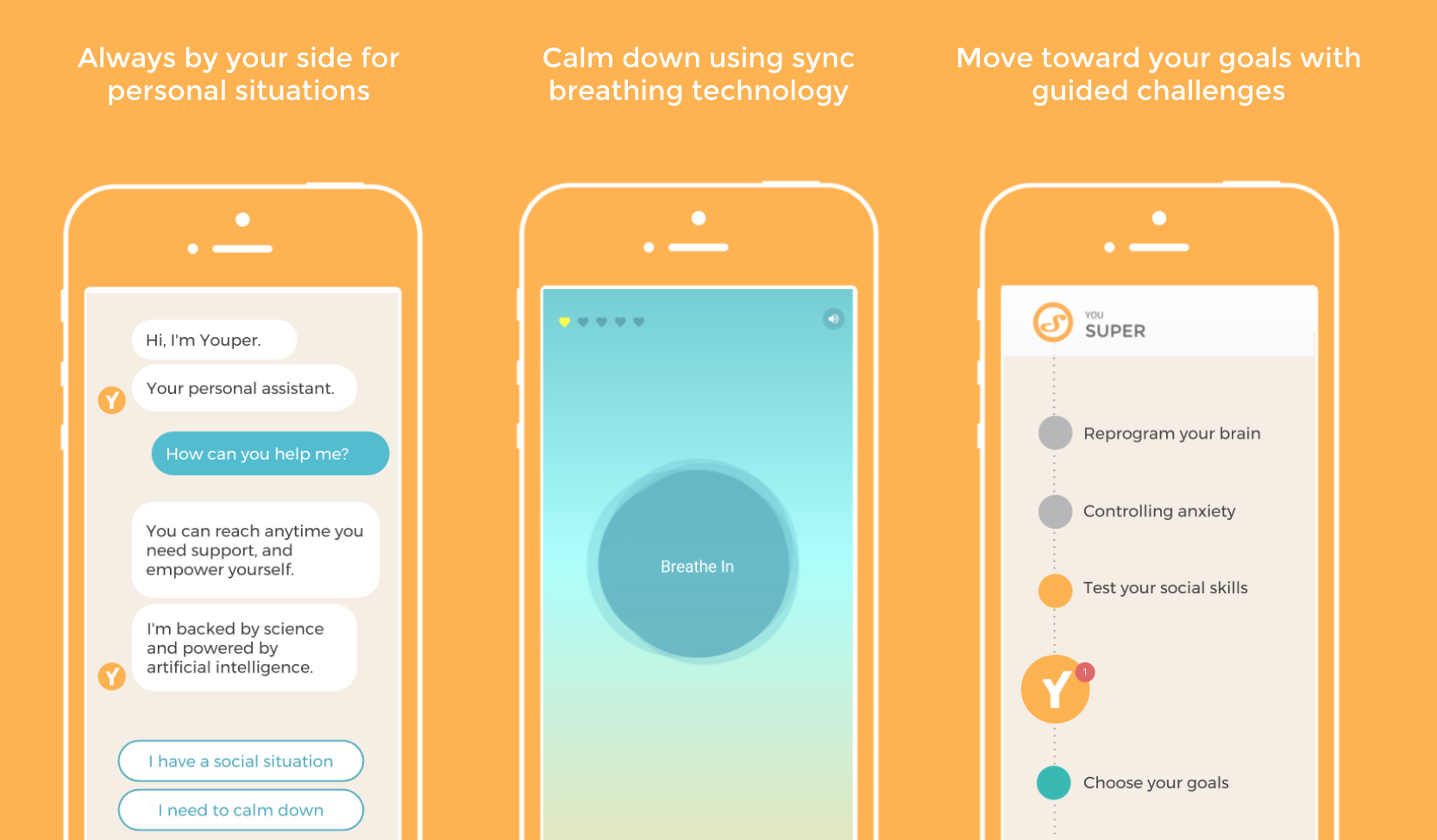 Youper is a free app available in English on the App Store and Google Play.